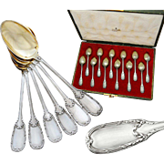 Puiforcat: Boxed French Sterling Silver & Vermeil 12pc Spoon Set