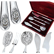 Boxed Antique French Sterling Silver 5pc Hors d'Oeuvre Set