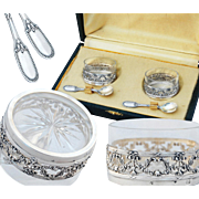 Boxed French Silver Salt Cellars and Salt Spoons