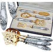 Boxed French Sterling Silver 4pc Hors d'Oeuvre Set - Art Nouveau decor