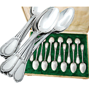 Boxed French Sterling Silver 12pc Teaspoon Set - Neoclassical design - Olier & Caron