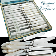 Antique Boxed French Silver & Mother of Pearl 12pc Dessert Knife Set- Lombard & Carpentier
