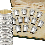 Boxed French Sterling Silver 12pc Liqueur Cups -