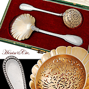 Henin: Boxed French Sterling Silver & Vermeil Cream Spoon and Sugar Sifter Set