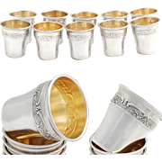 Barrier: French Sterling Silver Liquor Cups - 10pc