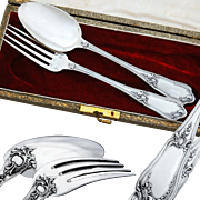 Ravinet d'Enfert: Boxed French .800 Silver 2pc Flatware Set - Rococo pattern