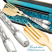 Boxed French Sterling Silver 2pc Salad Server Set