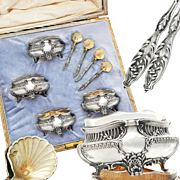 Ravinet d'Enfert: French Sterling Silver & Vermeil Open Salt Cellars and Salt Spoons