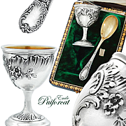 Puiforcat: Boxed French Sterling Silver & Vermeil Egg Cup and Spoon Set - Rococo pattern