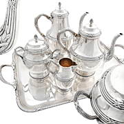 French Sterling Silver 4pc Tea/Coffee Set + Silver Plate Tray - Classical style decor