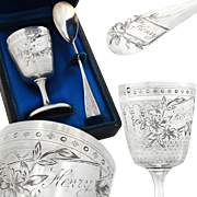 Berthier: Antique French Sterling Silver Egg Cup and Spoon - Guilloche decor