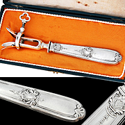 Boxed French Sterling Silver Manche a Gigot  - Meat bone holder