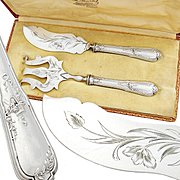 Ravinet: Boxed French Sterling Silver 2pc Fish Serving Set