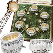 Boxed German .800 Silver Open Salt Cellars & Salt Spoons - Rococo decoration