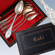 Antique French Silver 6pc Coffee Spoons Set with Brass Inlaid Box