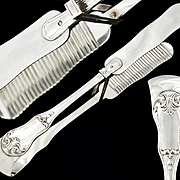 French Sterling Silver Asparagus Serving Tongs - Classical pattern