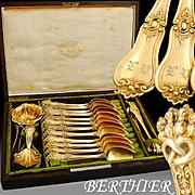 Berthier: French Louis Philippe era Silver & Vermeil 15pc Tea Service