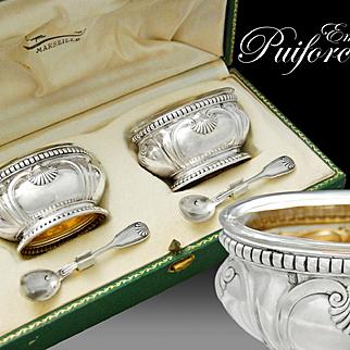 Puiforcat: Boxed French Sterling Silver & Vermeil Salt Cellars & Spoons Set