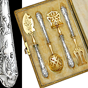 Boxed French Sterling Silver 4pc Hors d'Oeuvre Serving Set