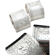 Two French Sterling Silver Napkin Rings with Guilloche pattern