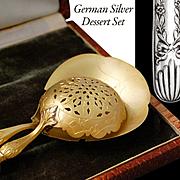 Boxed German Solid Silver 2pc Dessert Set - Sugar sifter & Cream spoon
