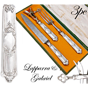 Boxed French Sterling Silver 3pc Meat Carving Set - Lapparra & Gabriel