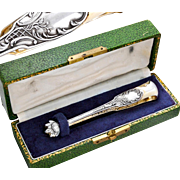 Boxed French Sterling Silver & Vermeil Sugar Tongs - J. Crossard