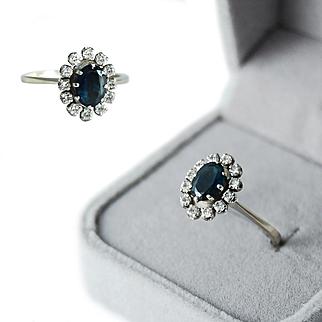 French 18 K White Gold Sapphire & Diamond Halo Ring