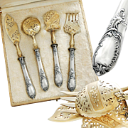 Boxed French Sterling Silver 4pc Hors d'Oeuvre Set - Rococo pattern