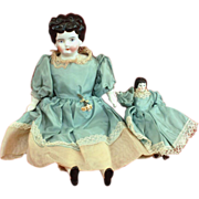 """Two Low Brow German China Dolls, 15"""" and 7.5"""", c. 1890s"""