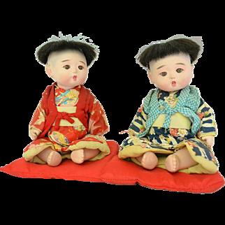 "Pair Gofun Ichimatsu Dolls, 9"", 1940s"