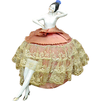 Pin Cushion Doll, Porcelain, Germany, 1920-1930s