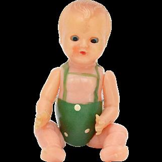 Giocattoli Brevettati Galetti Jointed Celluloid Sleeper Dollhouse Doll, Made in Italy