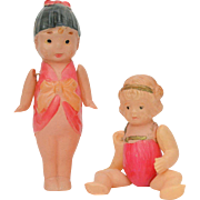 Two Celluloid Dolls in Swim Suits, Made in Japan