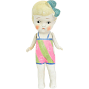 """Large 8"""" All Bisque Doll, Painted with Molded Hair and Bow"""