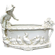 Hertwig Katzhutte Bisque Porcelain Planter with Boy and Geese