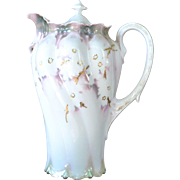 Reinhold Schlegelmilch RS Prussia Lidded Chocolate Pot,  Dogwood, 1905-1910