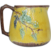 Yellow Majolica Pitcher with Floral Leaf Motif