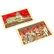 Two Embossed Applique Cuban Postcards