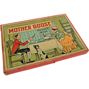 Three Mother Goose Puzzles in Original Box, Milton Bradley, 1930s