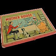 Three Mother Goose Puzzles in Original Box, Milton Bradley, 1930s