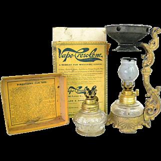 Antique Vapo Cresolene Medical Vaporizer Lamp with Original Box
