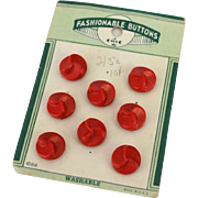 Red Plastic Swirl Buttons on Orignal Card, mid-century