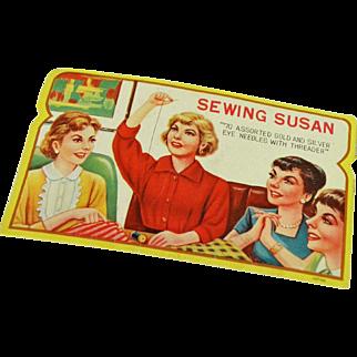 Vintage Sewing Needle Book, Sewing Susan, mid-century