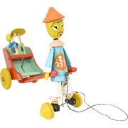 Wooden Rickshaw Man Pull Toy, Made in Italy
