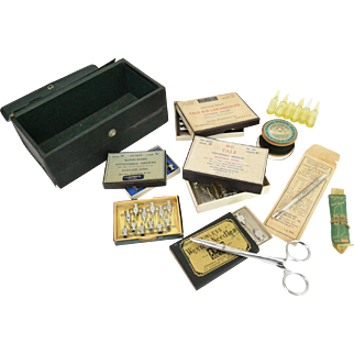 WWII Era Nurse Kit including Needles, Glass Thermometers, Surgical Silk, and Blades; 1940s