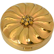 Evans Gold Tone with Rhinestones Compact 1940s-1950s