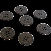 Seven WWII Era Black Anchor Buttons