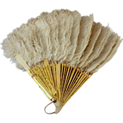 White Feather Hand Fan with Celluloid Sticks