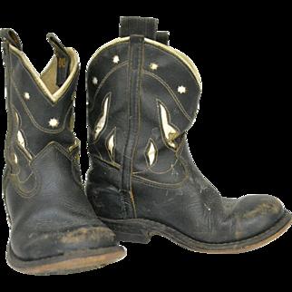 B.F. Goodrich Goding Boy's Cowboy Boots, Black and White, 1960s